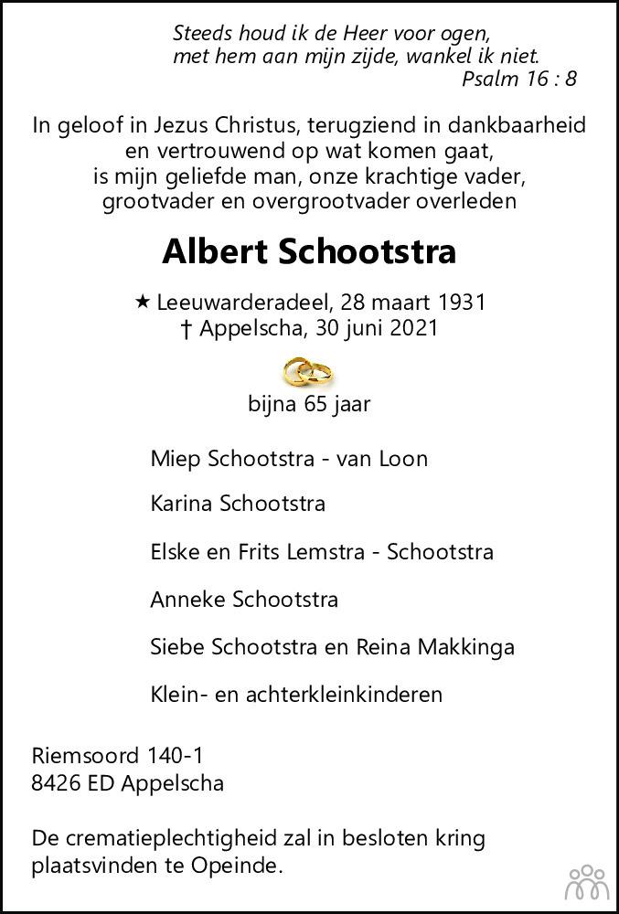 Overlijdensbericht van Albert Schootstra in Leeuwarder Courant