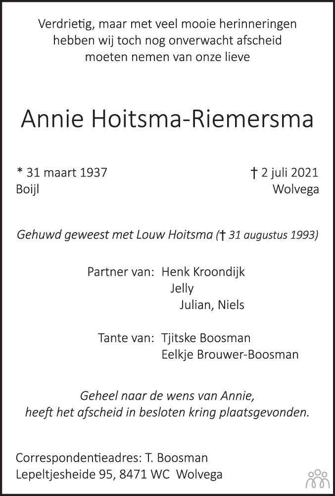 Overlijdensbericht van Annie Hoitsma-Riemersma in De Stellingwerf