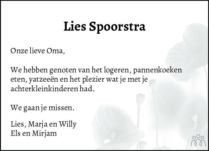 Overlijdensbericht van Elisabeth (Lies) Spoorstra-Posthumus in Friesch Dagblad
