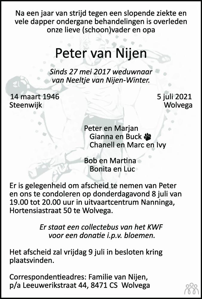 Overlijdensbericht van Peter van Nijen in De Stellingwerf
