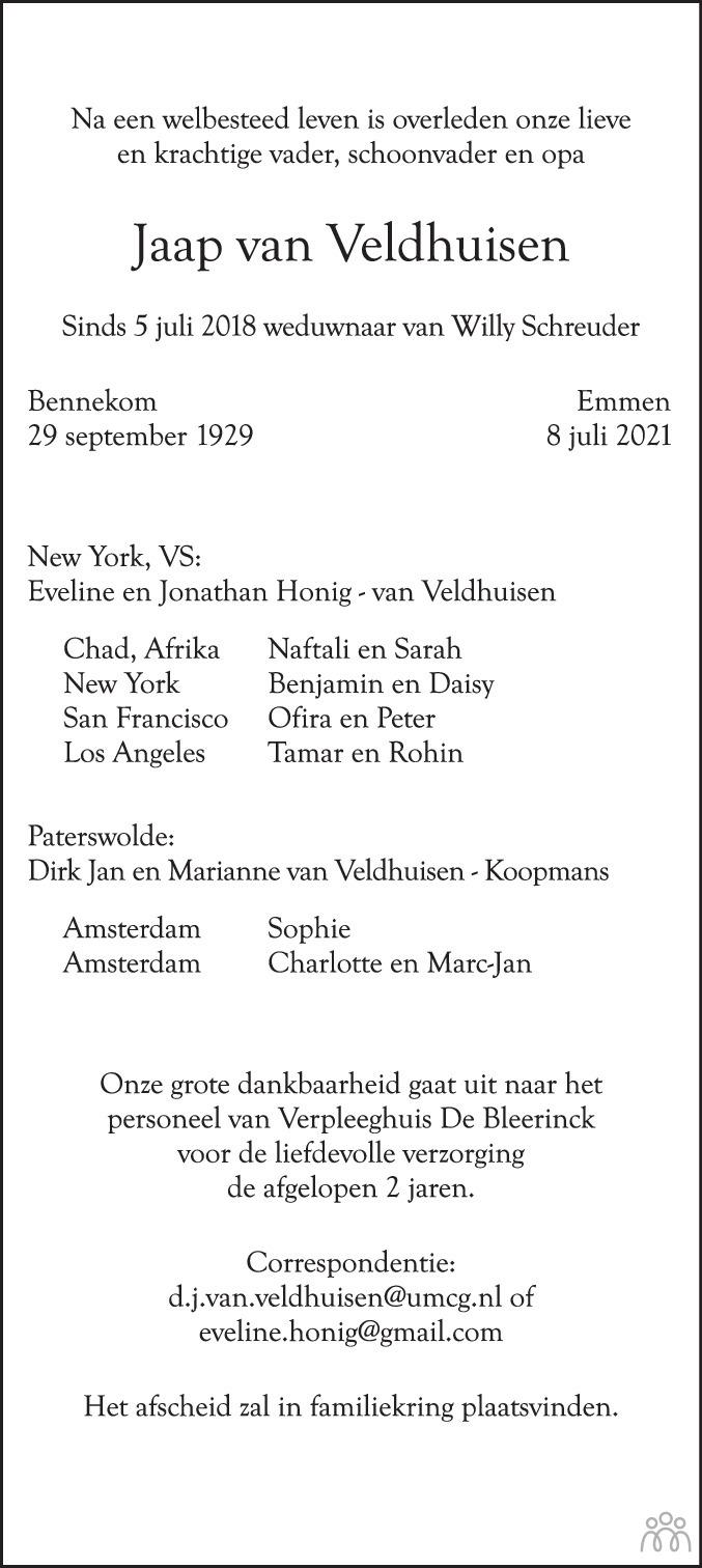 Overlijdensbericht van Jaap van Veldhuisen in Dagblad van het Noorden