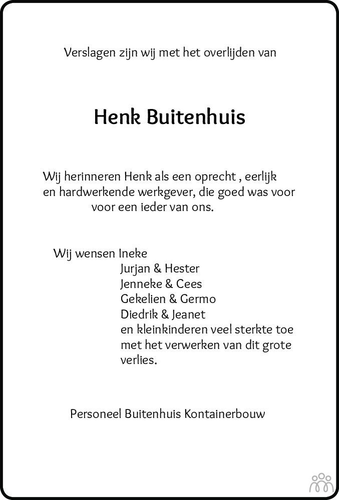 Overlijdensbericht van Hendrik (Henk) Buitenhuis in Meppeler Courant
