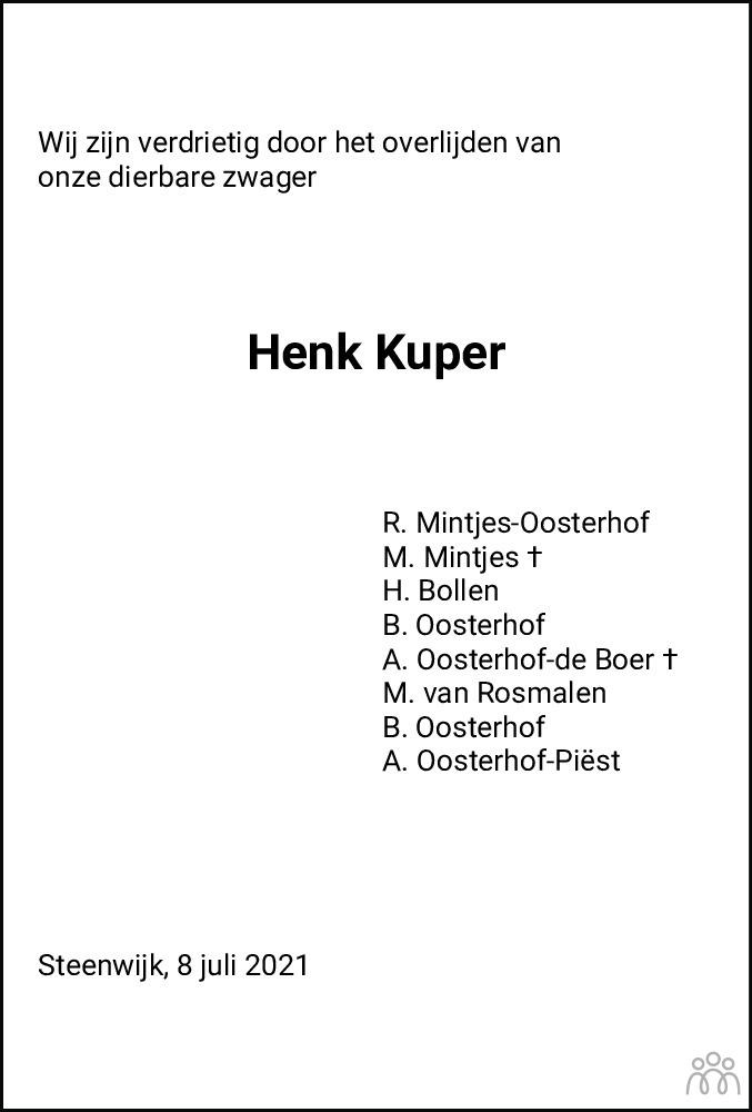 Overlijdensbericht van Henk Kuper in Meppeler Courant