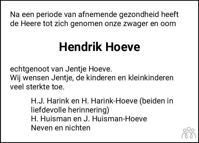 Overlijdensbericht van Hendrik Hoeve in De Staphorster