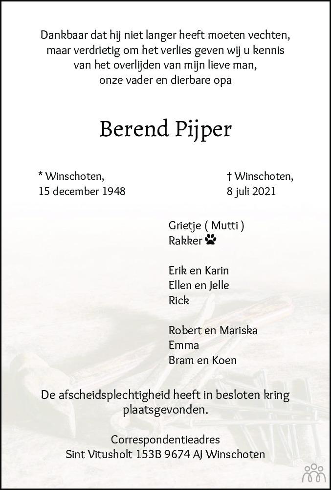 Overlijdensbericht van Berend Pijper in Dagblad van het Noorden