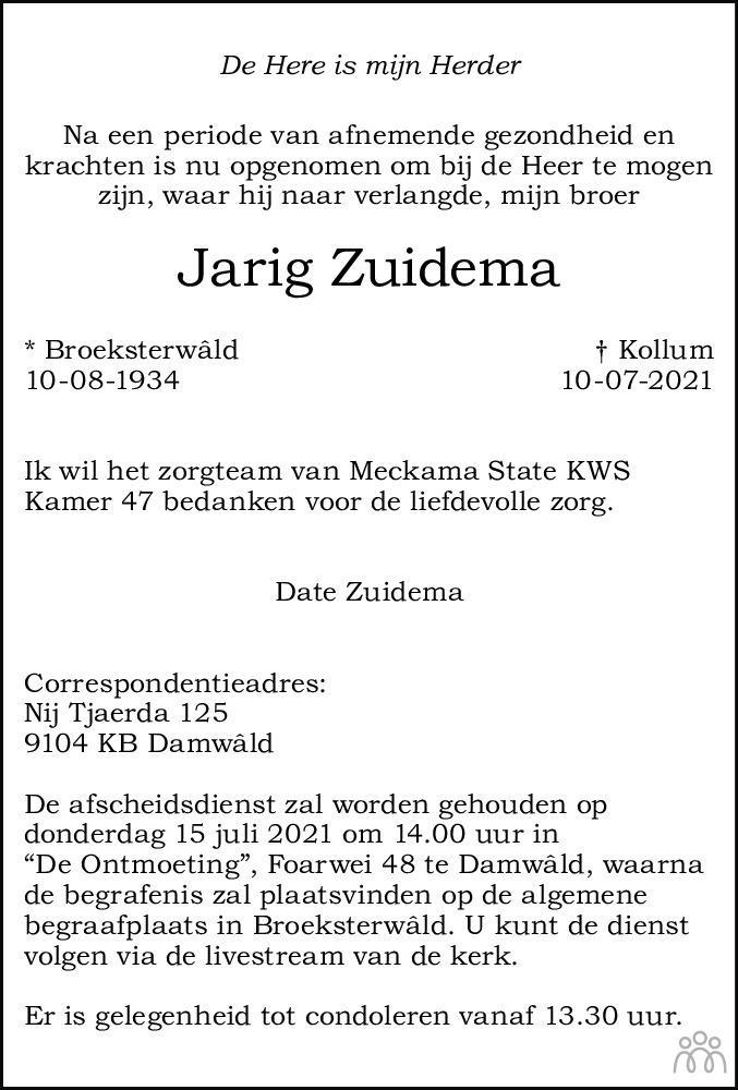 Overlijdensbericht van Jarig Zuidema in Friesch Dagblad