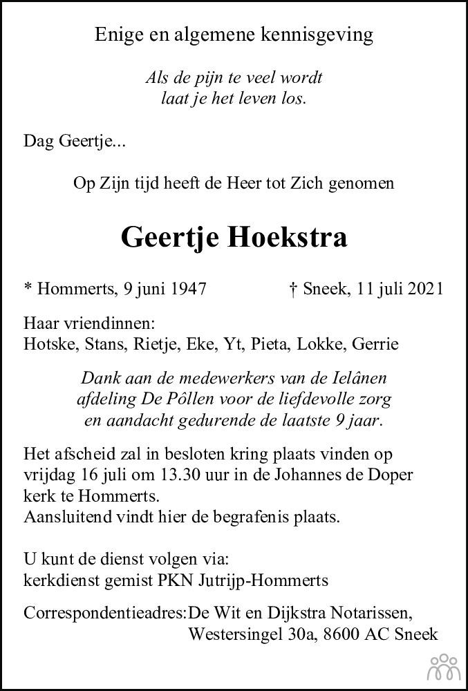 Overlijdensbericht van Geertje Hoekstra in Leeuwarder Courant