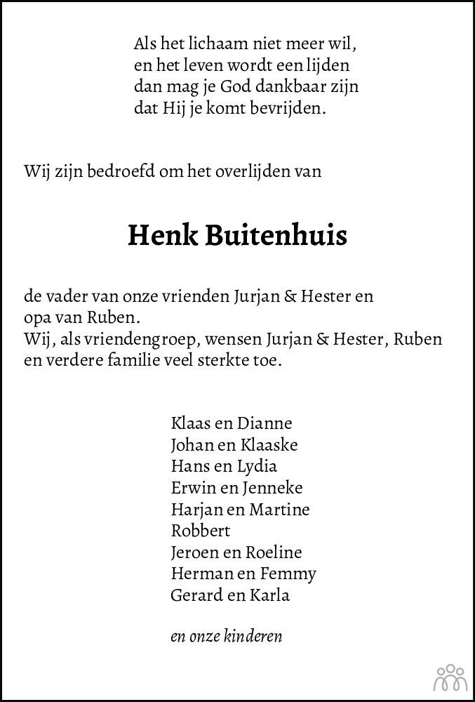 Overlijdensbericht van Hendrik (Henk) Buitenhuis in De Staphorster