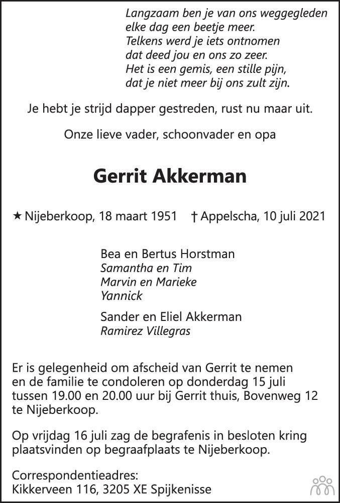 Overlijdensbericht van Gerrit Akkerman in Nieuwe Ooststellingwerver