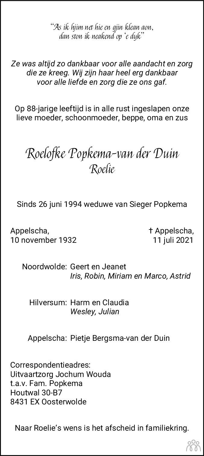 Overlijdensbericht van Roelofke (Roelie) Popkema-van der Duin in Nieuwe Ooststellingwerver