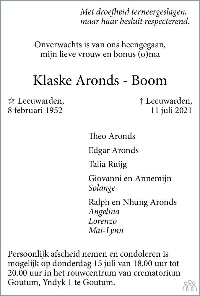 Overlijdensbericht van Klaske Aronds-Boom in Leeuwarder Courant