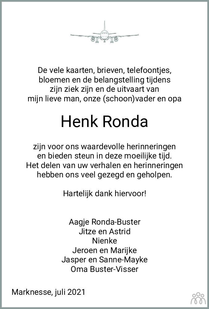 Overlijdensbericht van Hendrik (Henk) Ronda in Flevopost Dronten