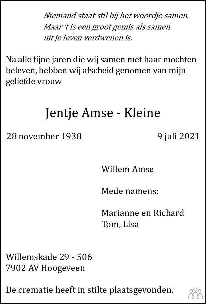Overlijdensbericht van Jentje Amse-Kleine in Hoogeveensche Courant