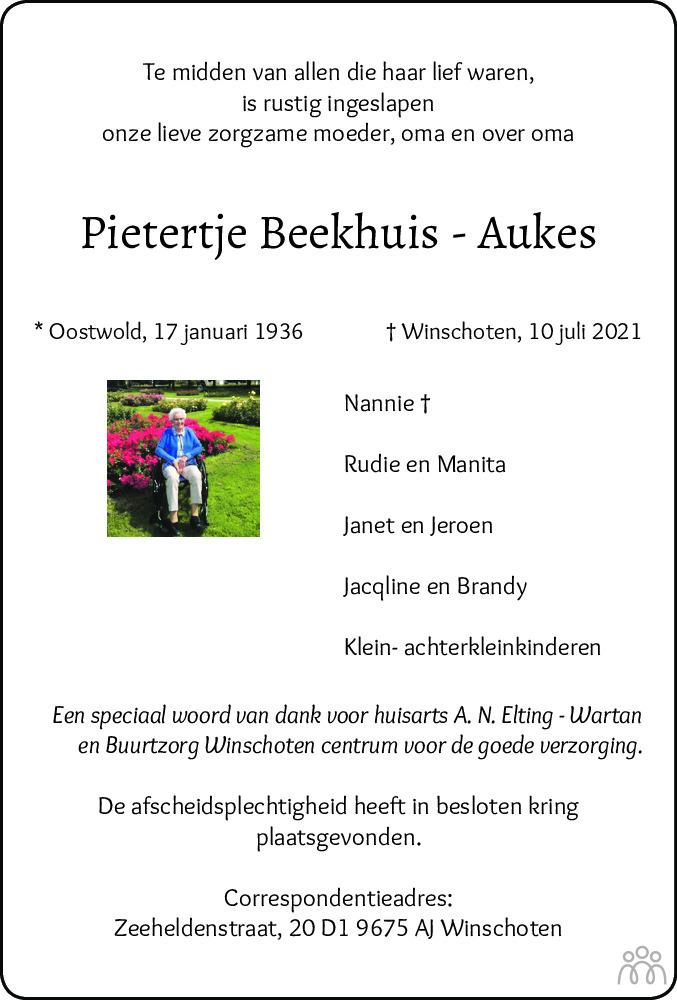 Overlijdensbericht van Pietertje Beekhuis-Aukes in Kanaalstreek Ter Apeler Courant