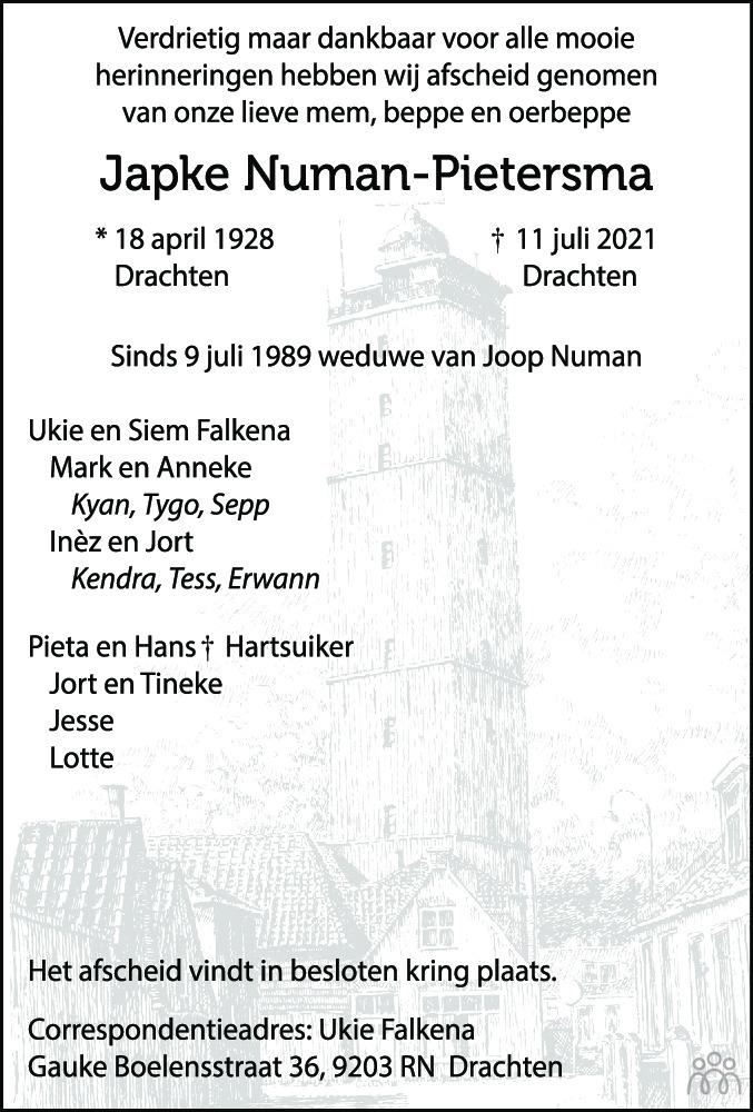 Overlijdensbericht van Japke Numan-Pietersma in Leeuwarder Courant