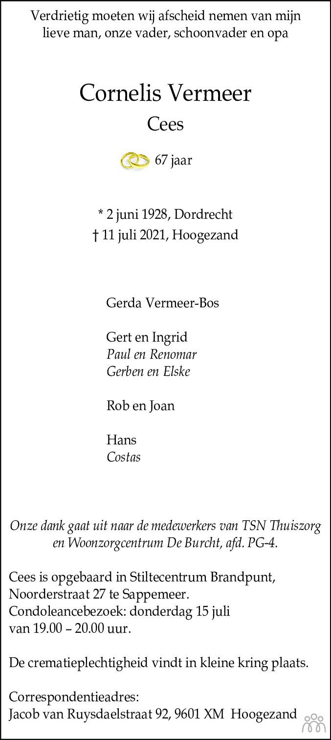 Overlijdensbericht van Cornelis (Cees) Vermeer in Dagblad van het Noorden