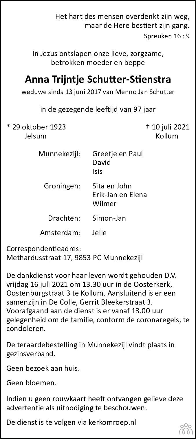 Overlijdensbericht van Anna Trijntje Schutter-Stienstra in Leeuwarder Courant