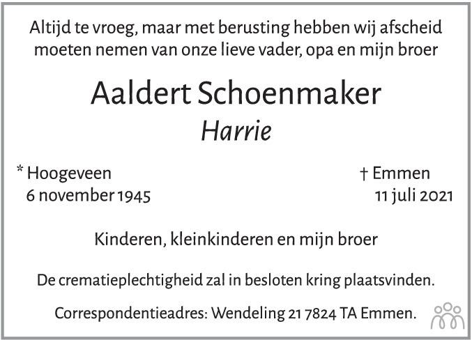 Overlijdensbericht van Aaldert (Harrie) Schoenmaker in Hoogeveensche Courant