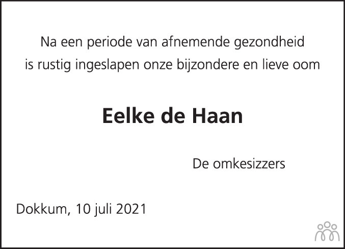 Overlijdensbericht van Eelke de Haan in Dockumer Courant