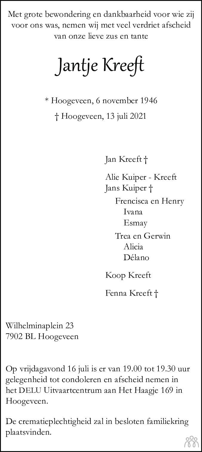 Overlijdensbericht van Jantje Kreeft in Hoogeveensche Courant