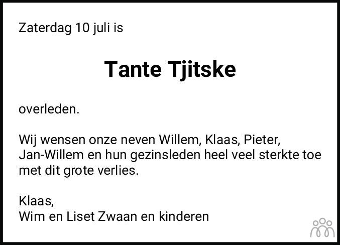 Overlijdensbericht van Tjitske Albada-Zwaan in Bolswards Nieuwsblad
