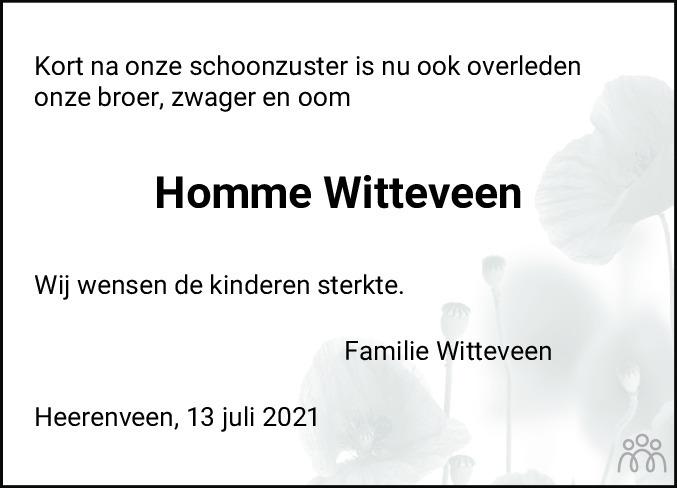 Overlijdensbericht van Homme Eelke Witteveen in Leeuwarder Courant