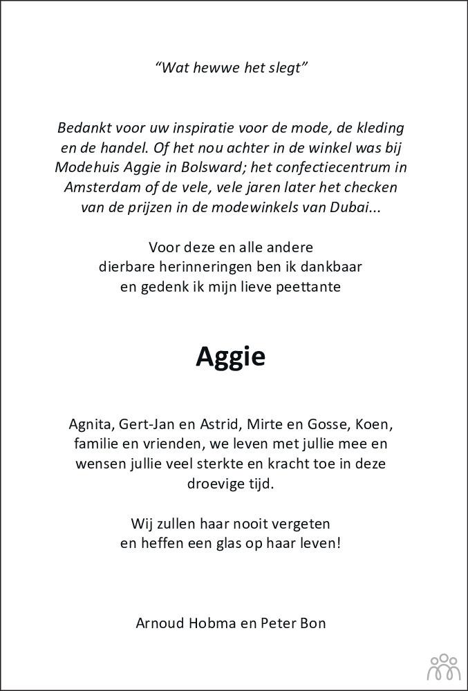 Overlijdensbericht van Aggie Jorna-Altenburg in Leeuwarder Courant