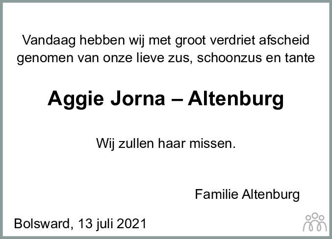 Overlijdensbericht van Aggie Jorna-Altenburg in Bolswards Nieuwsblad