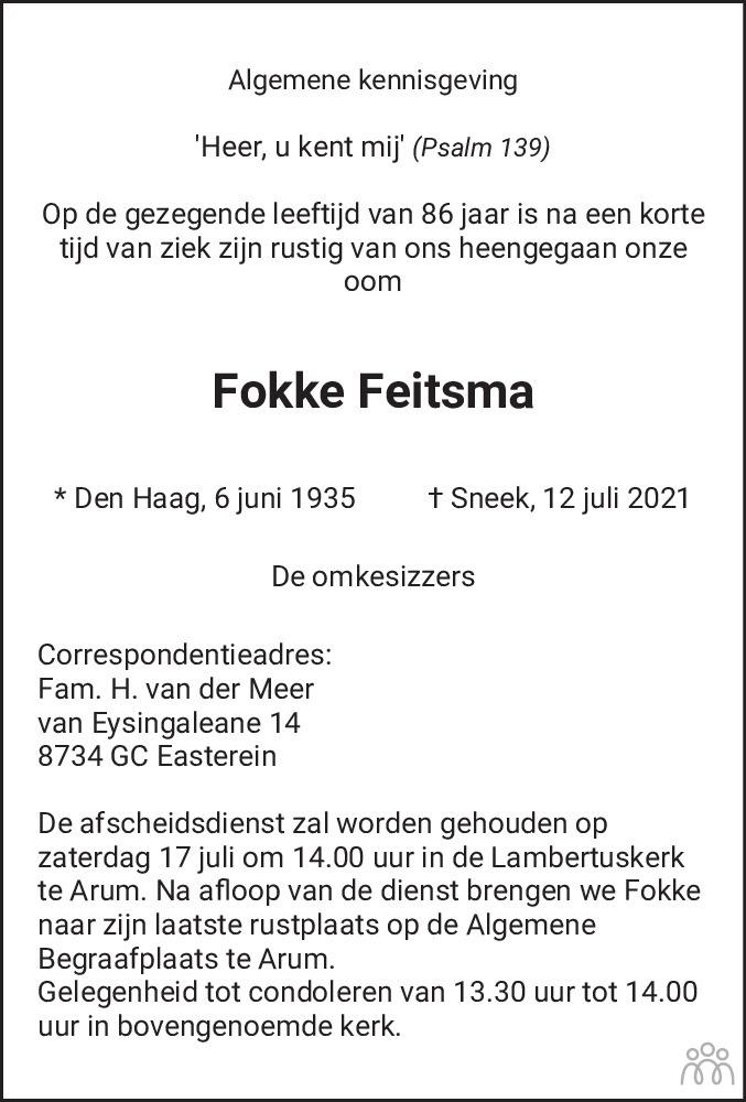 Overlijdensbericht van Fokke Feitsma in Leeuwarder Courant