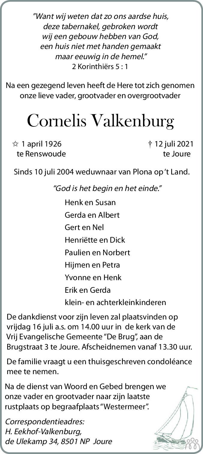 Overlijdensbericht van Cornelis Valkenburg in Leeuwarder Courant