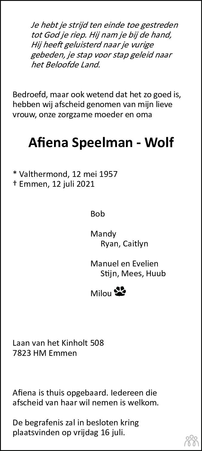 Overlijdensbericht van Afiena Speelman-Wolf in Dagblad van het Noorden