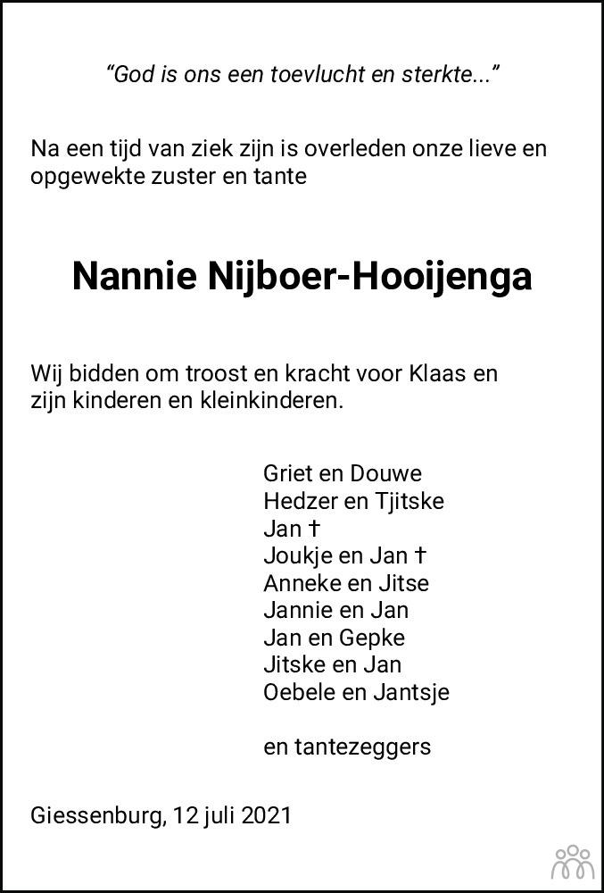 Overlijdensbericht van Nannie Nijboer-Hooijenga in Friesch Dagblad