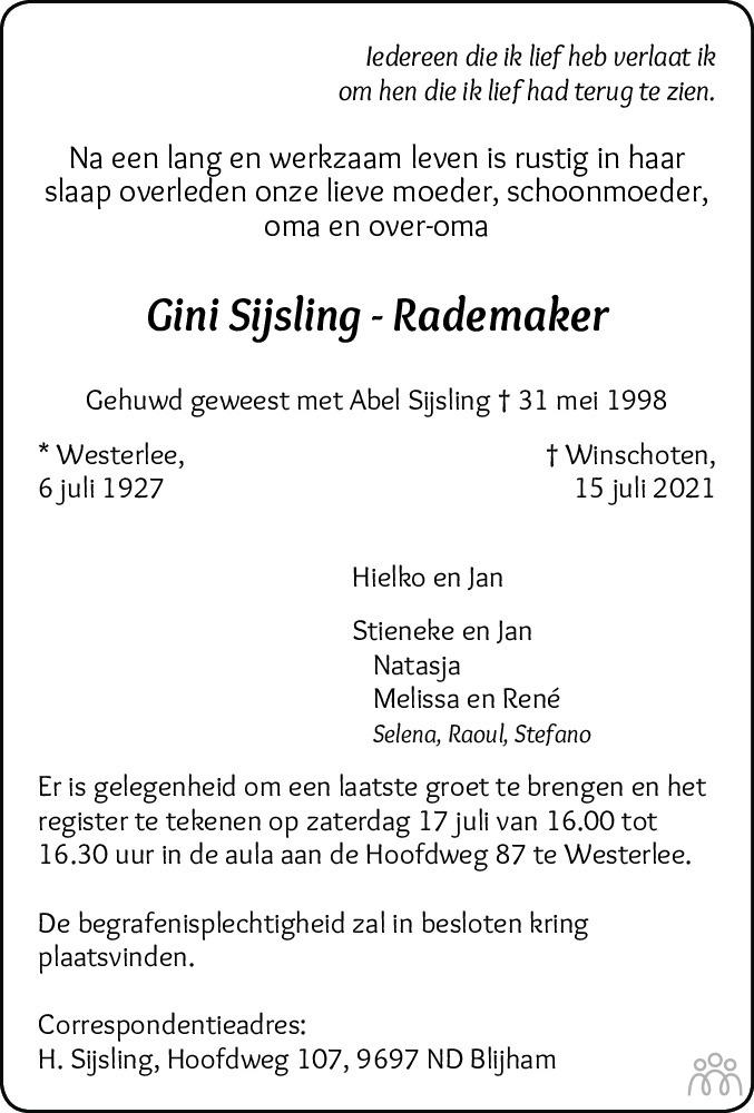 Overlijdensbericht van Gini Sijsling-Rademaker in Dagblad van het Noorden