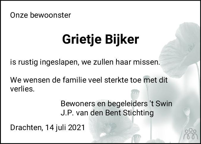 Overlijdensbericht van Grietje Bijker in Leeuwarder Courant