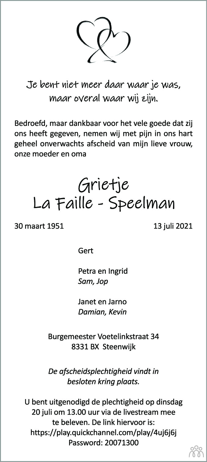 Overlijdensbericht van Grietje la Faille-Speelman in Meppeler Courant