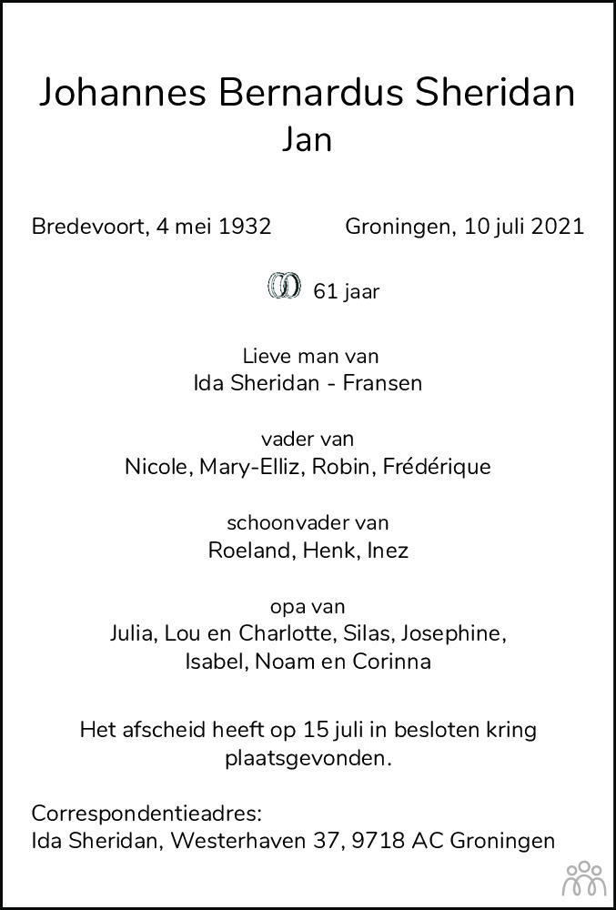 Overlijdensbericht van Johannes Bernardus (Jan) Sheridan in Dagblad van het Noorden