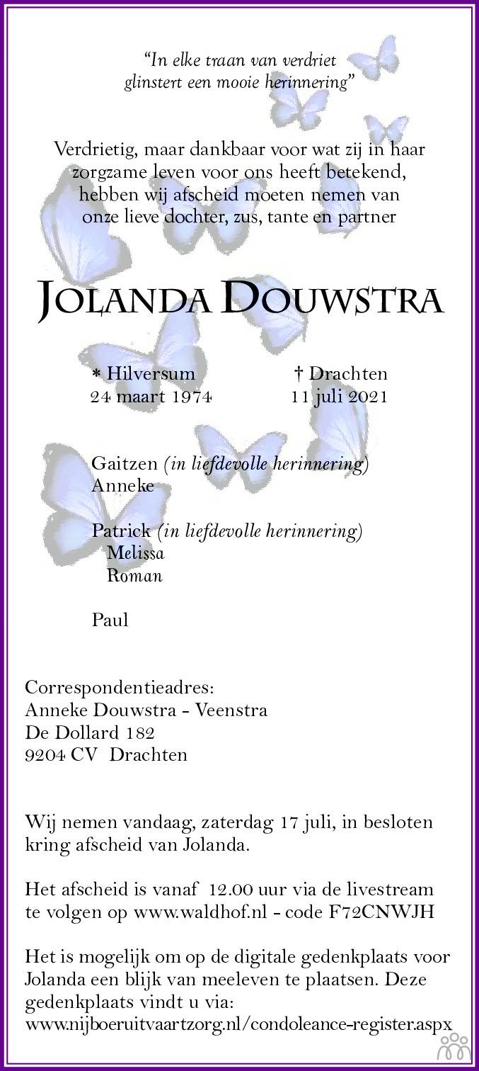 Overlijdensbericht van Jolanda Douwstra in Leeuwarder Courant