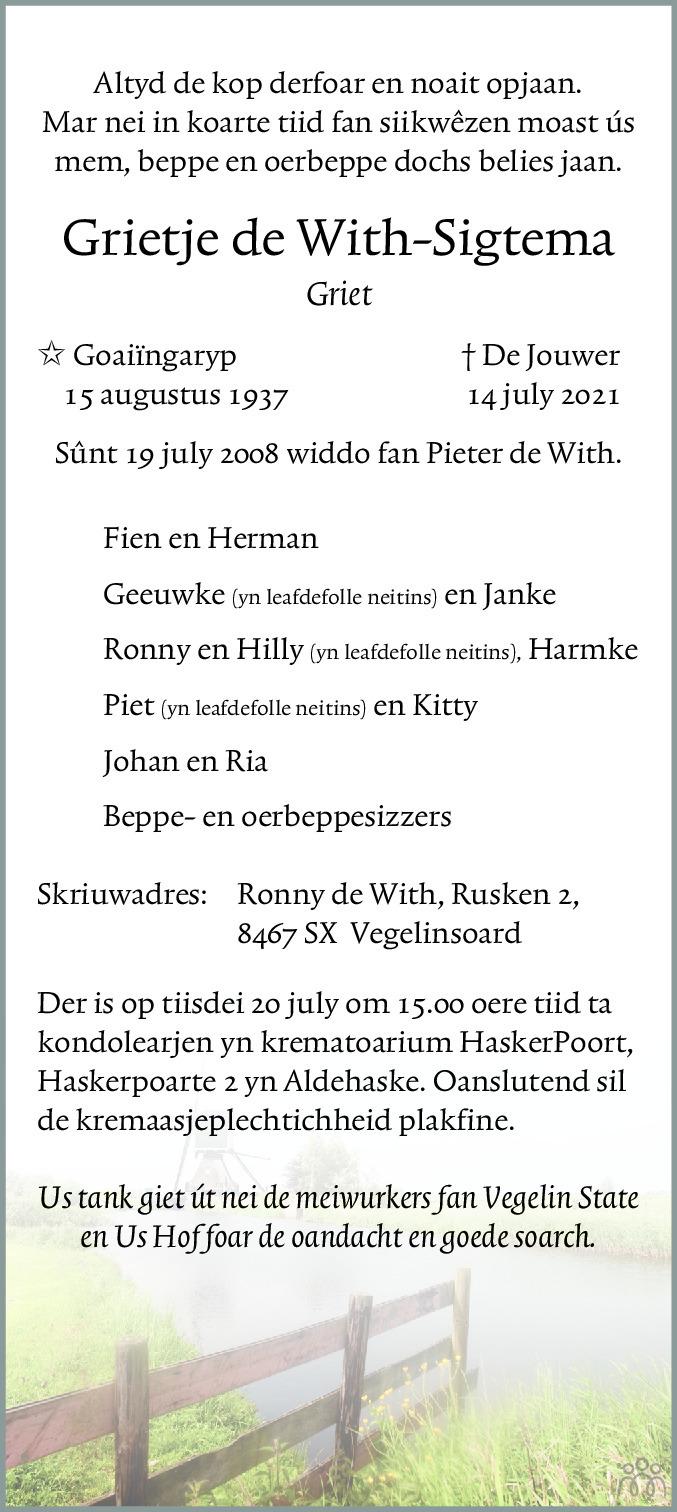 Overlijdensbericht van Grietje (Griet) de With-Sigtema in Leeuwarder Courant