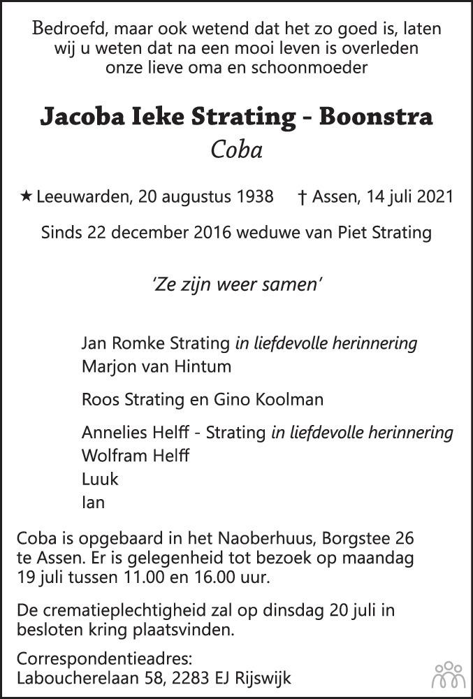 Overlijdensbericht van Jacoba Ieke (Coba) Strating-Boonstra in Dagblad van het Noorden