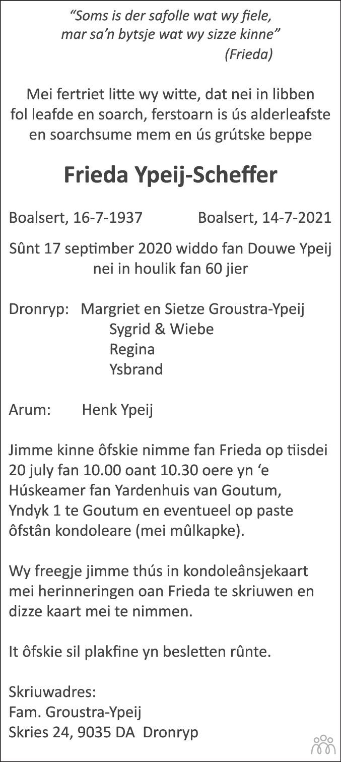 Overlijdensbericht van Frieda Ypeij-Scheffer in Leeuwarder Courant