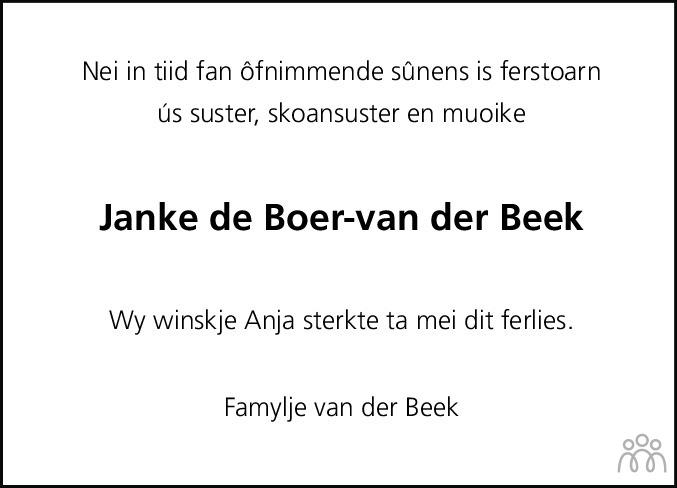 Overlijdensbericht van Janke de Boer-van der Beek in Leeuwarder Courant