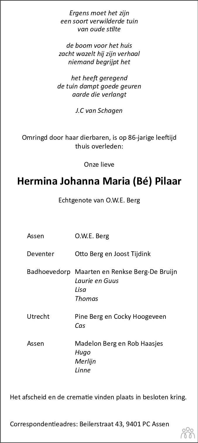 Overlijdensbericht van Bé (Hermina Johanna Maria) Berg-Pilaar in Dagblad van het Noorden