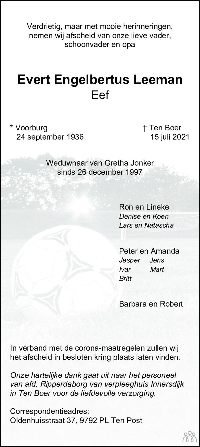 Overlijdensbericht van Evert Engelbertus (Eef) Leeman in Dagblad van het Noorden