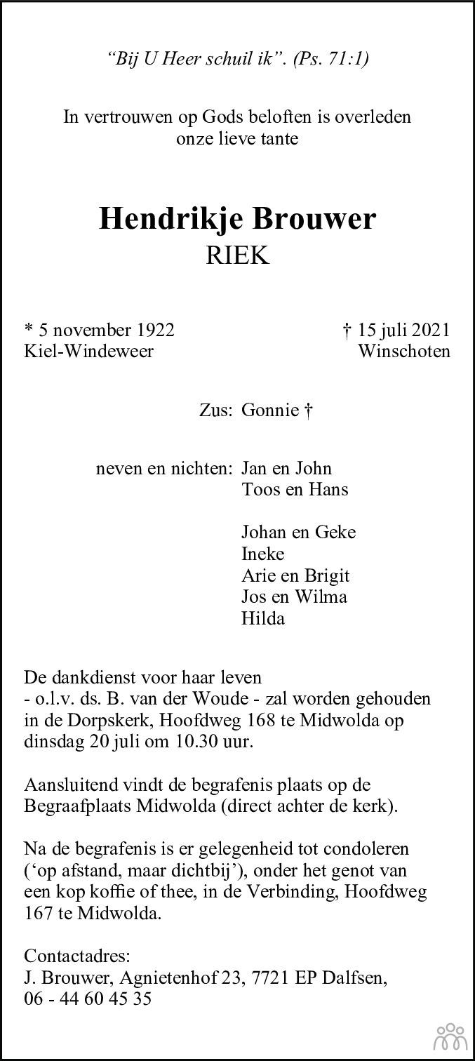 Overlijdensbericht van Hendrikje (Riek) Brouwer in Dagblad van het Noorden