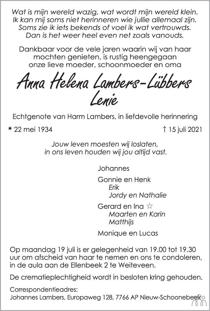 Overlijdensbericht van Anna Helena (Lenie) Lambers-Lübbers in Dagblad van het Noorden