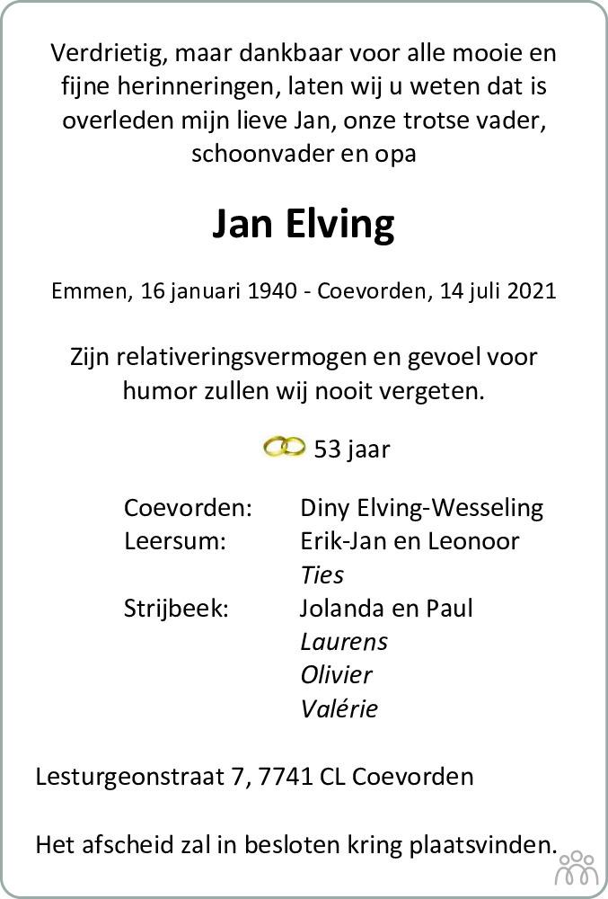 Overlijdensbericht van Jan Elving in Dagblad van het Noorden