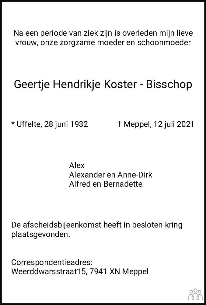 Overlijdensbericht van Geertje Hendrikje Koster-Bisschop in Meppeler Courant
