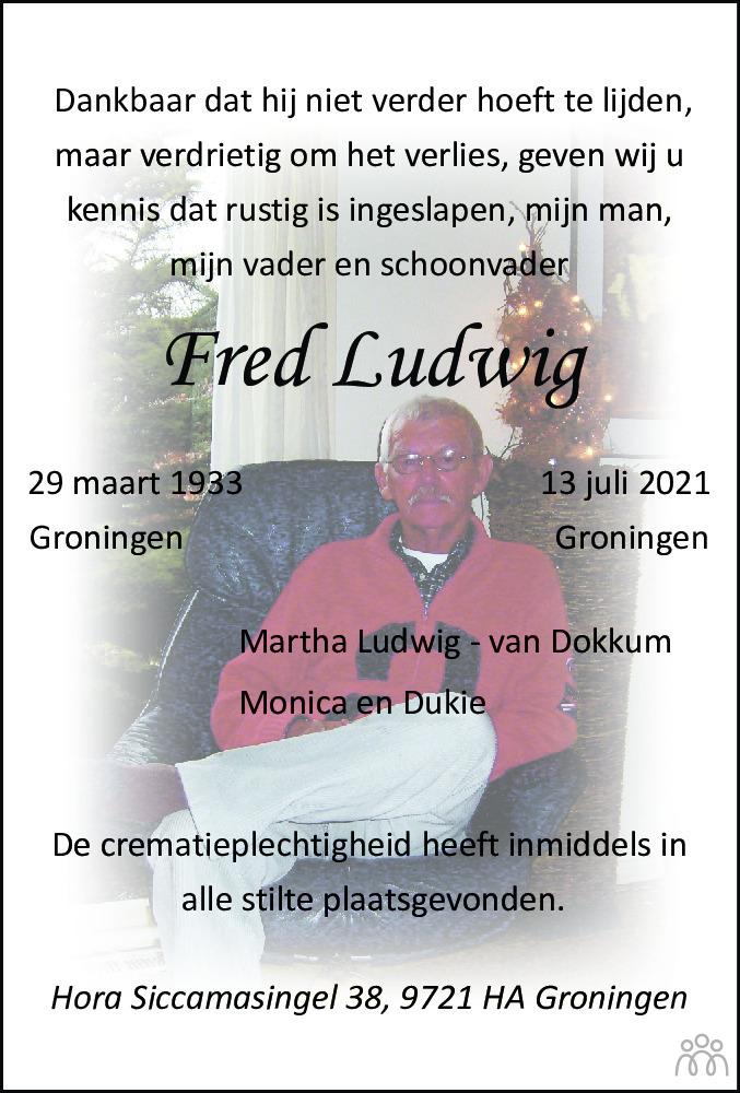 Overlijdensbericht van Fred Ludwig in Dagblad van het Noorden