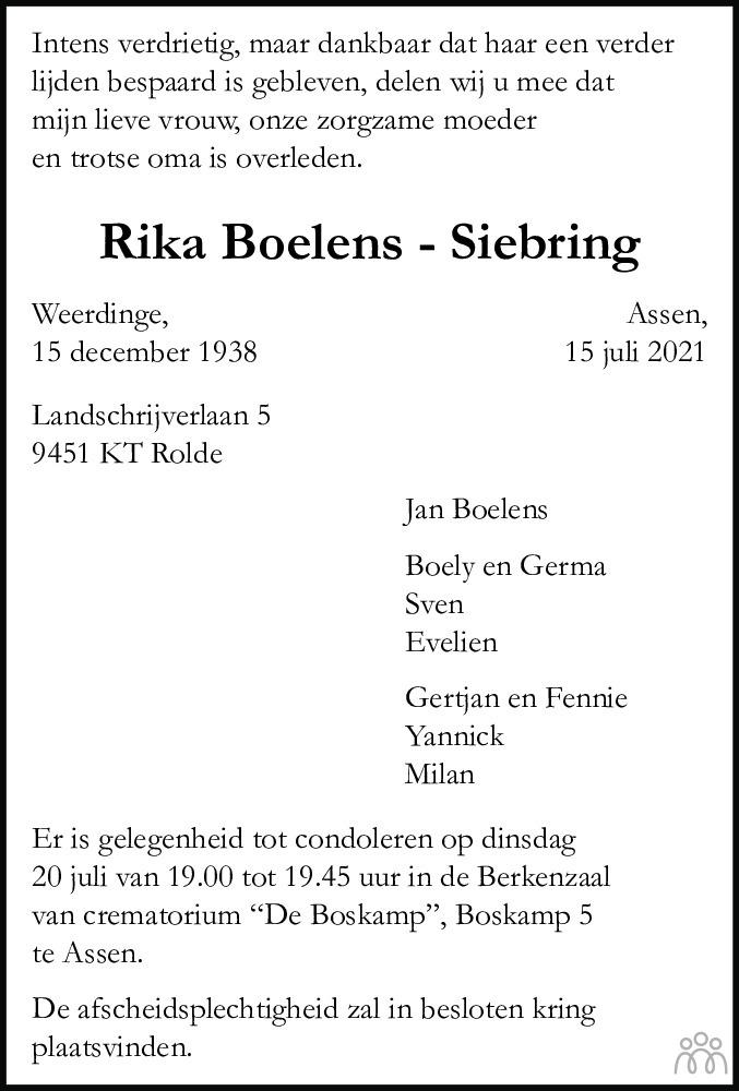 Overlijdensbericht van Henderika (Rika) Boelens-Siebring in Dagblad van het Noorden