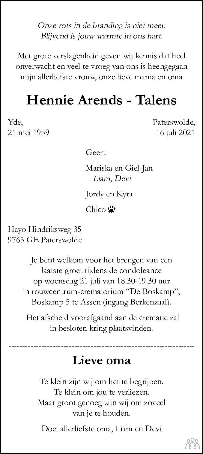 Overlijdensbericht van Hennie Arends-Talens in Dagblad van het Noorden